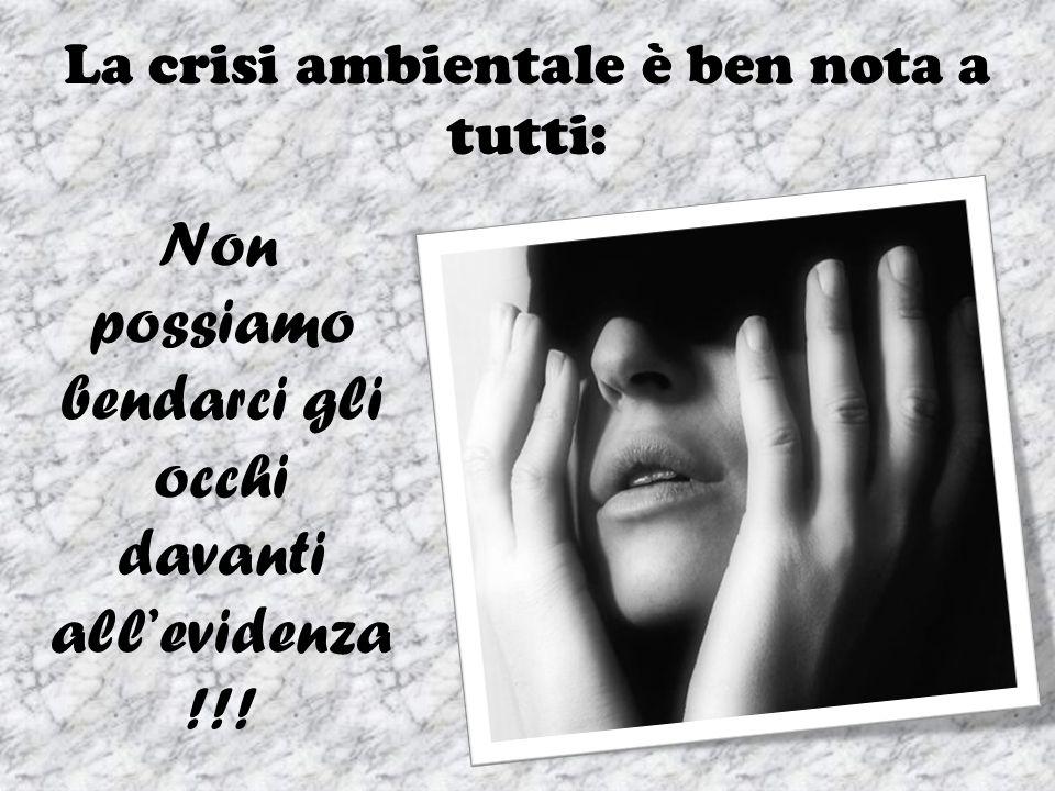 La crisi ambientale è ben nota a tutti: Non possiamo bendarci gli occhi davanti allevidenza !!!