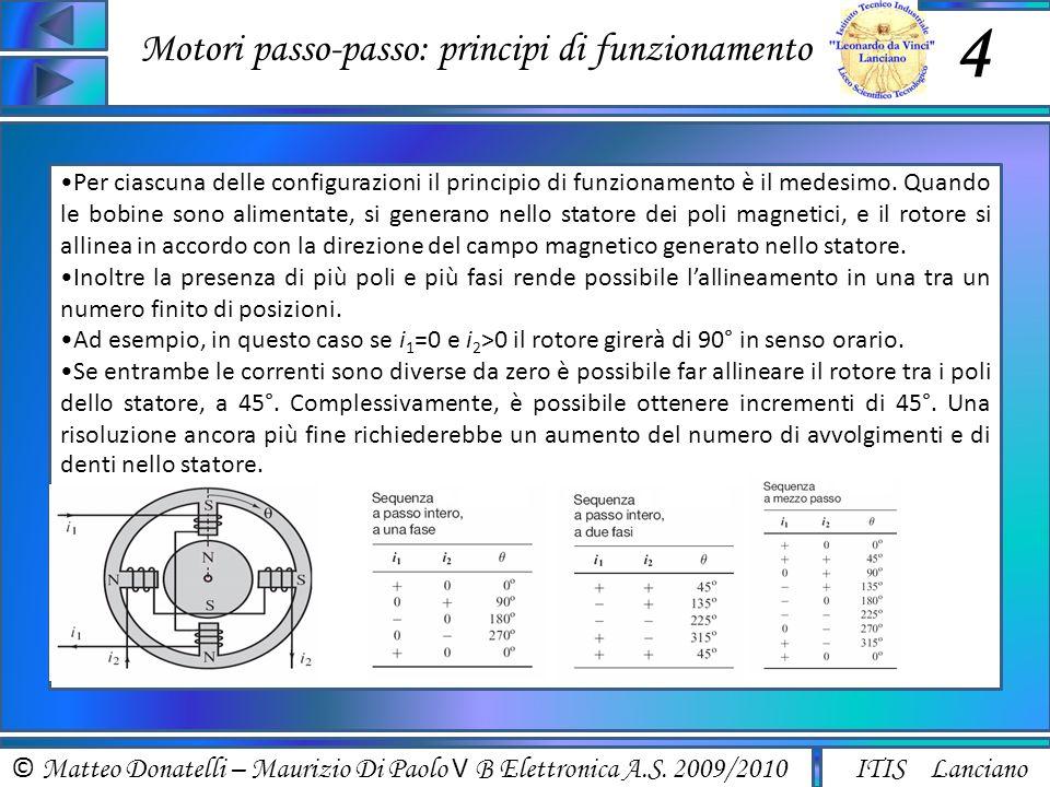 © Matteo Donatelli – Maurizio Di Paolo V B Elettronica A.S. 2009/2010 ITIS Lanciano Motori passo-passo: principi di funzionamento 4 Per ciascuna delle