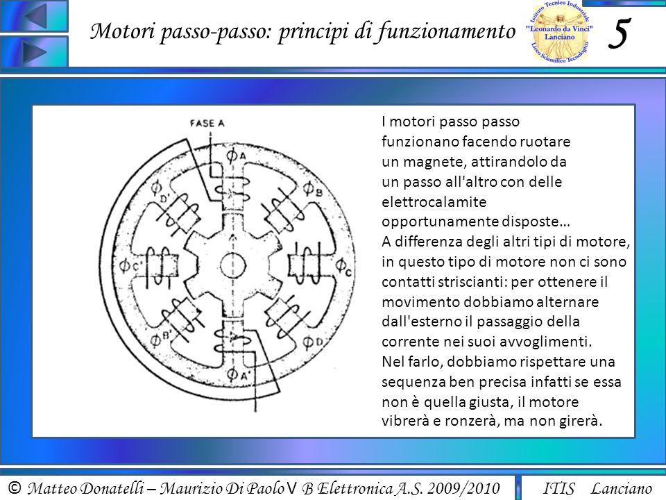 © Matteo Donatelli – Maurizio Di Paolo V B Elettronica A.S. 2009/2010 ITIS Lanciano Motori passo-passo: principi di funzionamento 5 I motori passo pas