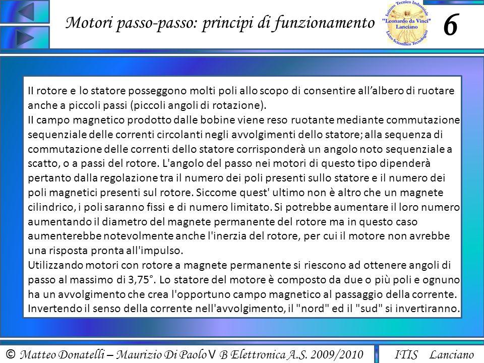 © Matteo Donatelli – Maurizio Di Paolo V B Elettronica A.S. 2009/2010 ITIS Lanciano Motori passo-passo: principi di funzionamento 6 II rotore e lo sta