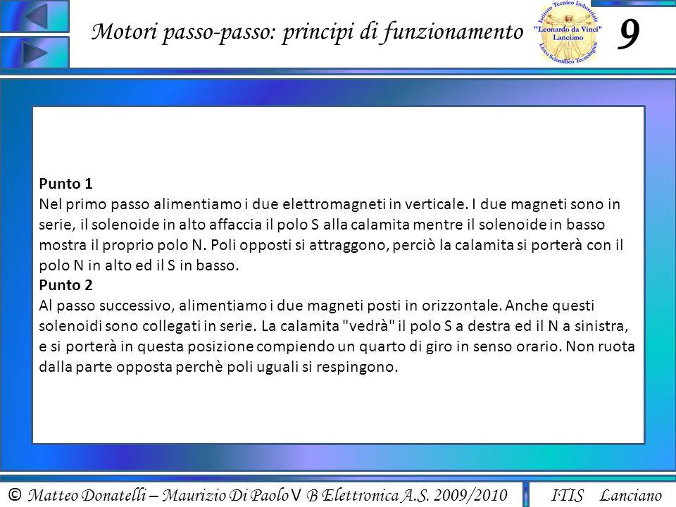 © Matteo Donatelli – Maurizio Di Paolo V B Elettronica A.S. 2009/2010 ITIS Lanciano Motori passo-passo: principi di funzionamento 9 Punto 1 Nel primo