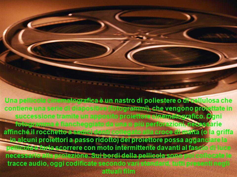 Una pellicola cinematografica è un nastro di poliestere o di cellulosa che contiene una serie di diapositive (fotogrammi), che vengono proiettate in s