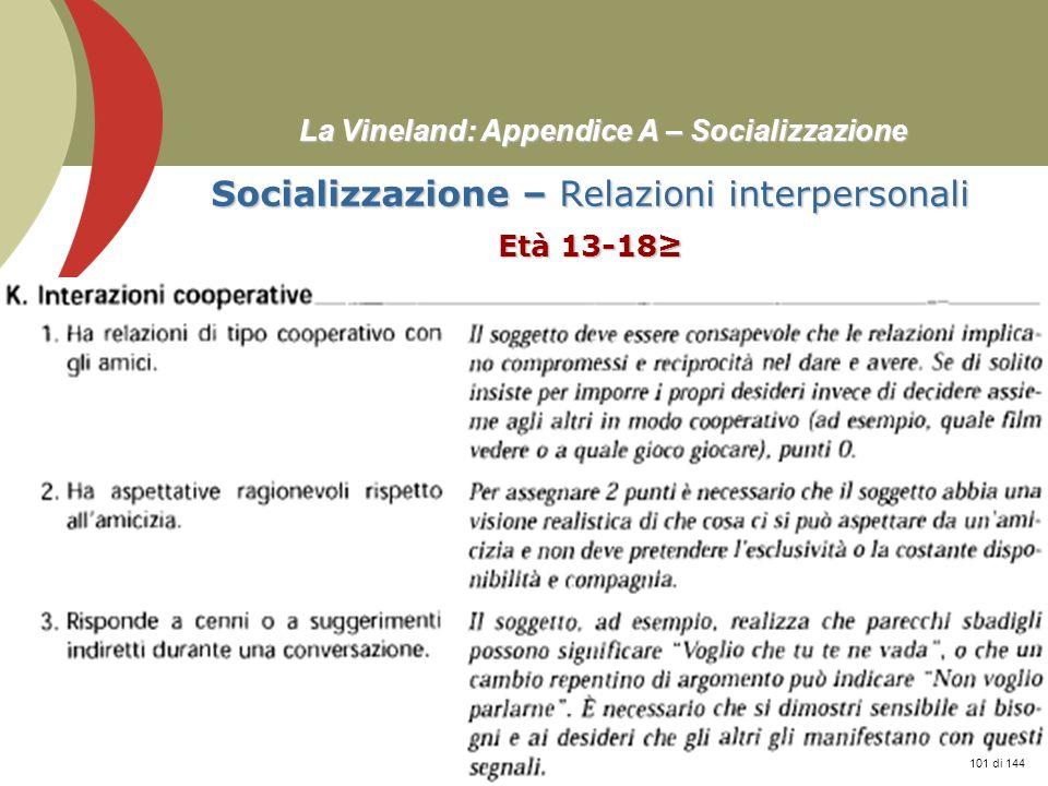 Prof. Stefano Federici La Vineland: Appendice A – Socializzazione Socializzazione – Relazioni interpersonali Età 13-18 101 di 144