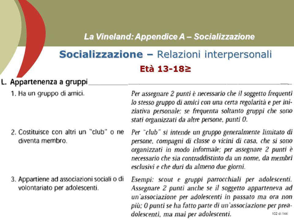 Prof. Stefano Federici La Vineland: Appendice A – Socializzazione Socializzazione – Relazioni interpersonali Età 13-18 102 di 144