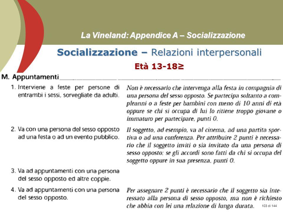 Prof. Stefano Federici La Vineland: Appendice A – Socializzazione Socializzazione – Relazioni interpersonali Età 13-18 103 di 144