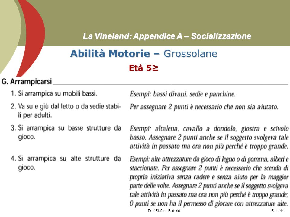 Prof. Stefano Federici La Vineland: Appendice A – Socializzazione Abilità Motorie – Grossolane Età 5 115 di 144