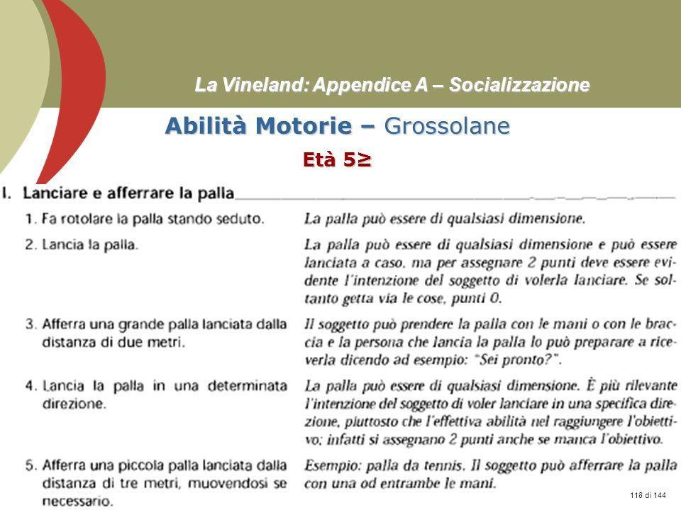 Prof. Stefano Federici La Vineland: Appendice A – Socializzazione Abilità Motorie – Grossolane Età 5 118 di 144