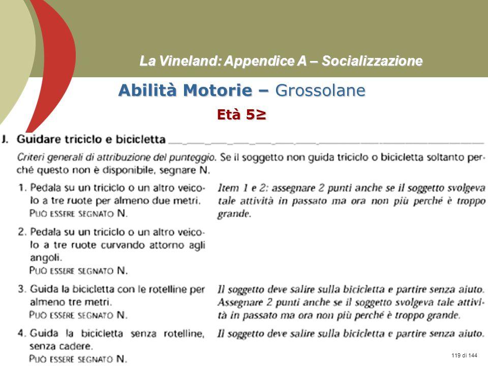 Prof. Stefano Federici La Vineland: Appendice A – Socializzazione Abilità Motorie – Grossolane Età 5 119 di 144