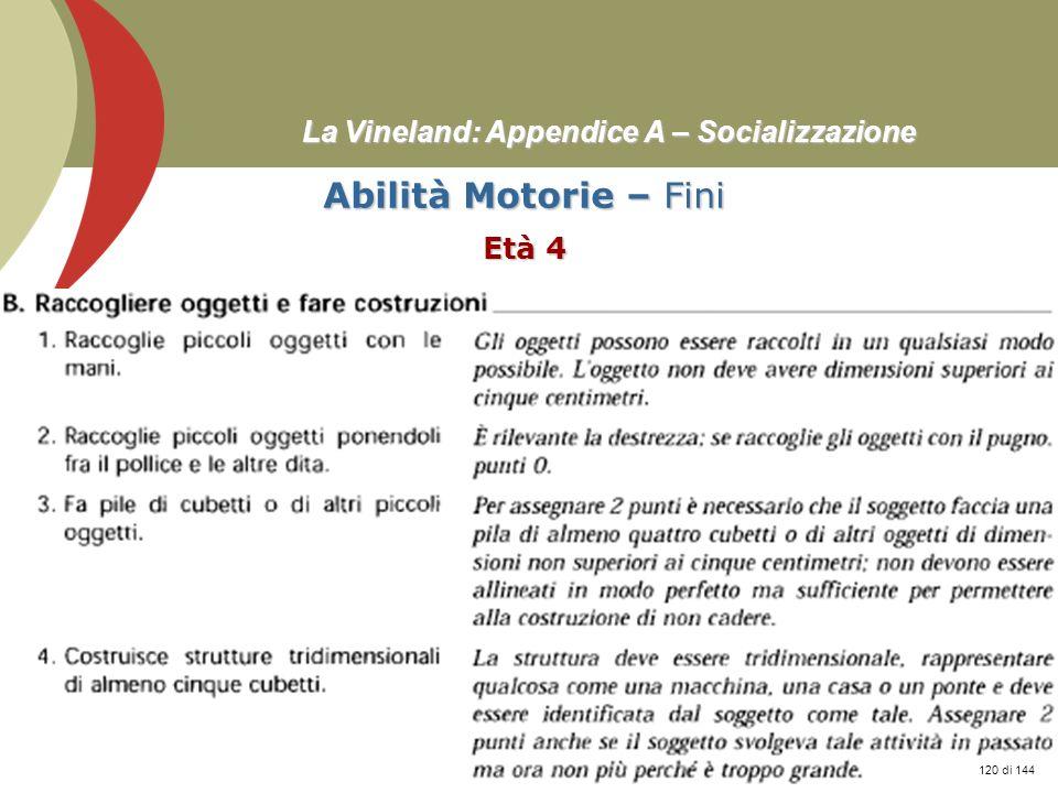 Prof. Stefano Federici La Vineland: Appendice A – Socializzazione Abilità Motorie – Fini Età 4 120 di 144