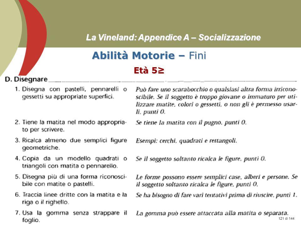 Prof. Stefano Federici La Vineland: Appendice A – Socializzazione Abilità Motorie – Fini Età 5 121 di 144