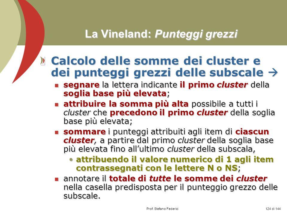 Prof. Stefano Federici La Vineland: Punteggi grezzi La Vineland: Punteggi grezzi Calcolo delle somme dei cluster e dei punteggi grezzi delle subscale