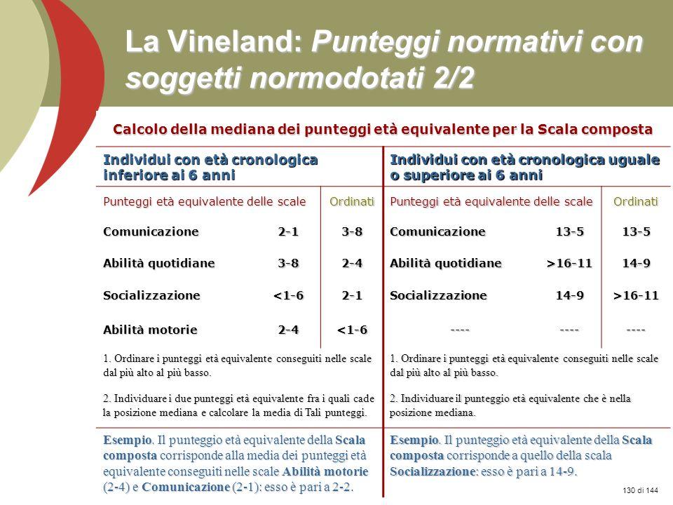 Prof. Stefano Federici La Vineland: Punteggi normativi con soggetti normodotati 2/2 Calcolo della mediana dei punteggi età equivalente per la Scala co