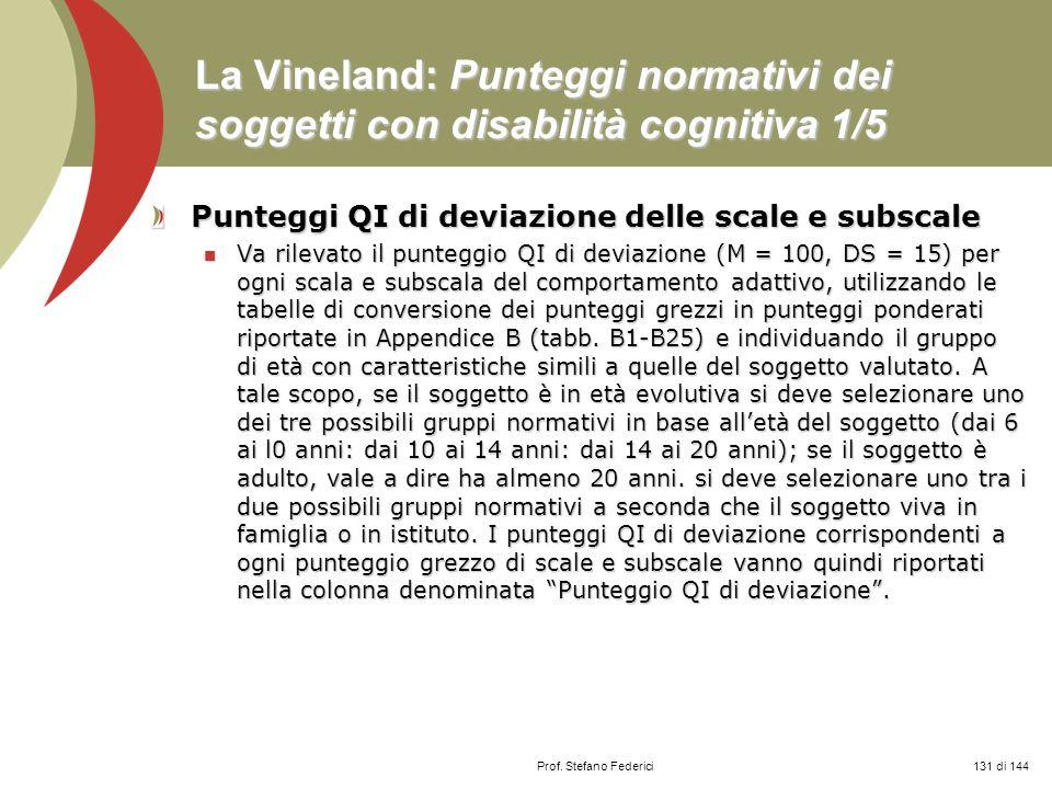 Prof. Stefano Federici La Vineland: Punteggi normativi dei soggetti con disabilità cognitiva 1/5 Punteggi QI di deviazione delle scale e subscale Va r