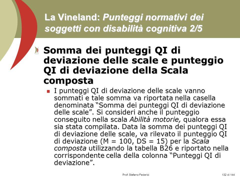 Prof. Stefano Federici La Vineland: Punteggi normativi dei soggetti con disabilità cognitiva 2/5 Somma dei punteggi QI di deviazione delle scale e pun