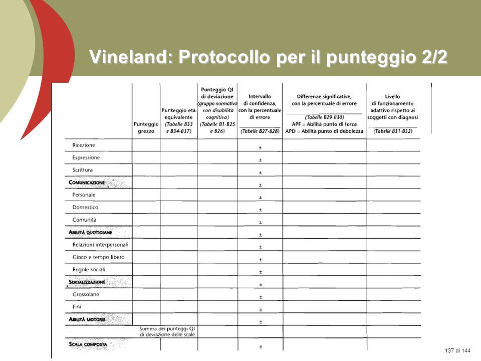 Prof. Stefano Federici Vineland: Protocollo per il punteggio 2/2 137 di 144