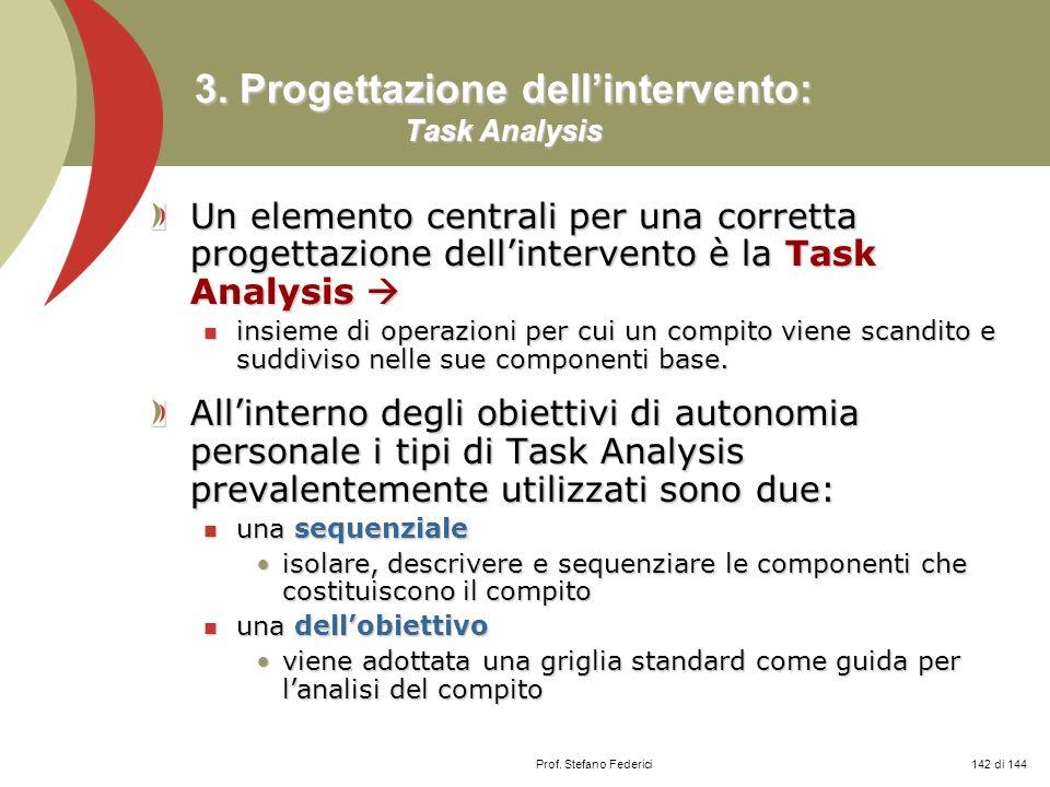 Prof. Stefano Federici 3. Progettazione dellintervento: Task Analysis Un elemento centrali per una corretta progettazione dellintervento è la Task Ana