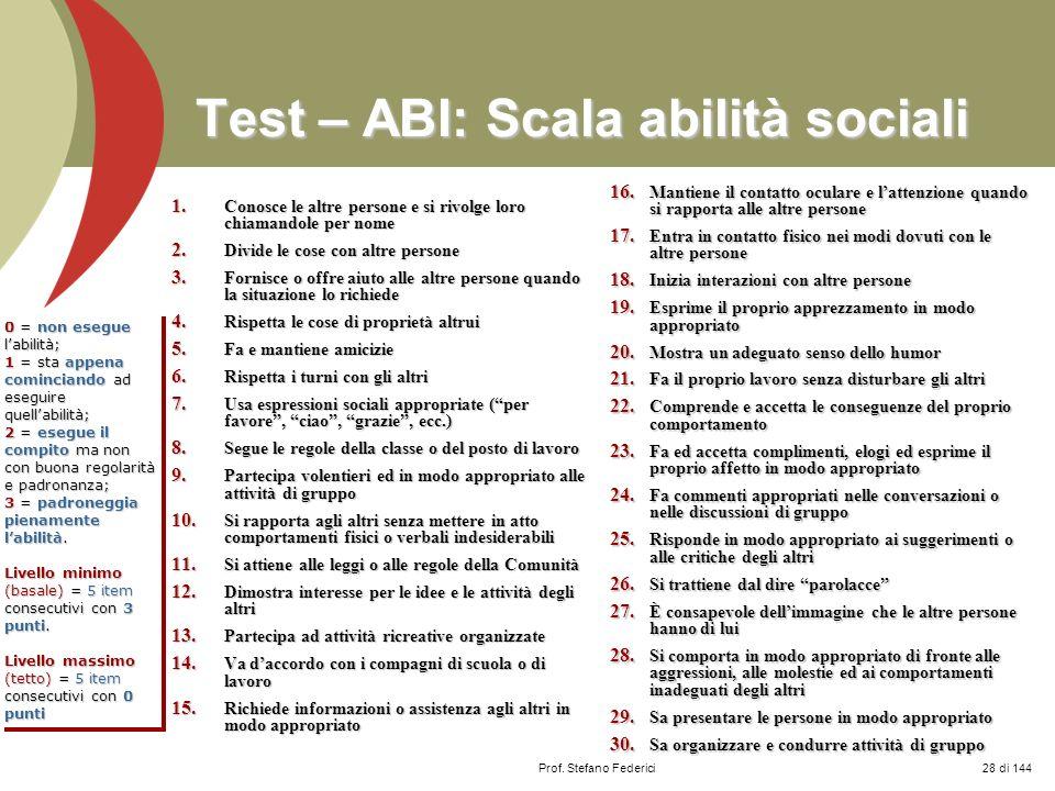 Prof. Stefano Federici Test – ABI: Scala abilità sociali 1. Conosce le altre persone e si rivolge loro chiamandole per nome 2. Divide le cose con altr
