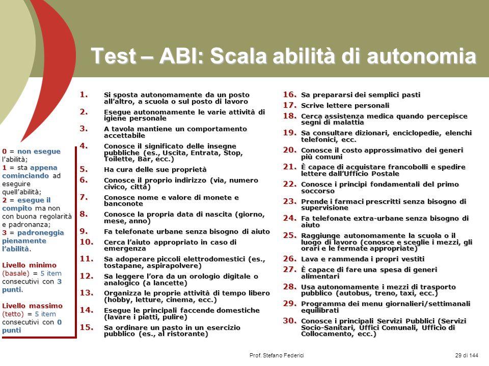 Prof. Stefano Federici Test – ABI: Scala abilità di autonomia 1. Si sposta autonomamente da un posto allaltro, a scuola o sul posto di lavoro 2. Esegu