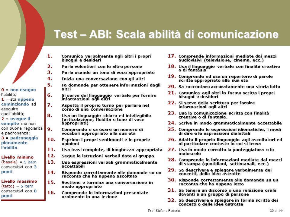 Prof. Stefano Federici Test – ABI: Scala abilità di comunicazione 1. Comunica verbalmente agli altri i propri bisogni e desideri 2. Parla volentieri c
