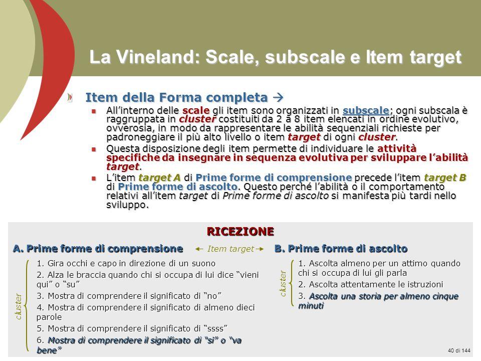 Prof. Stefano Federici La Vineland: Scale, subscale e Item target Item della Forma completa Item della Forma completa Allinterno delle scale gli item
