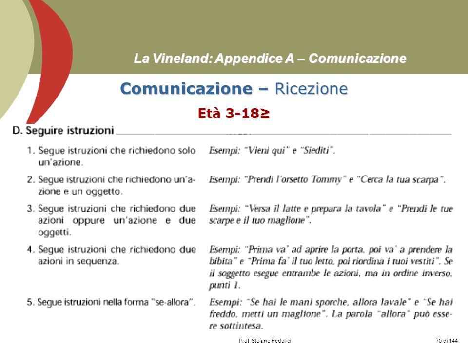 Prof. Stefano Federici La Vineland: Appendice A – Comunicazione Comunicazione – Ricezione Età 3-18 70 di 144