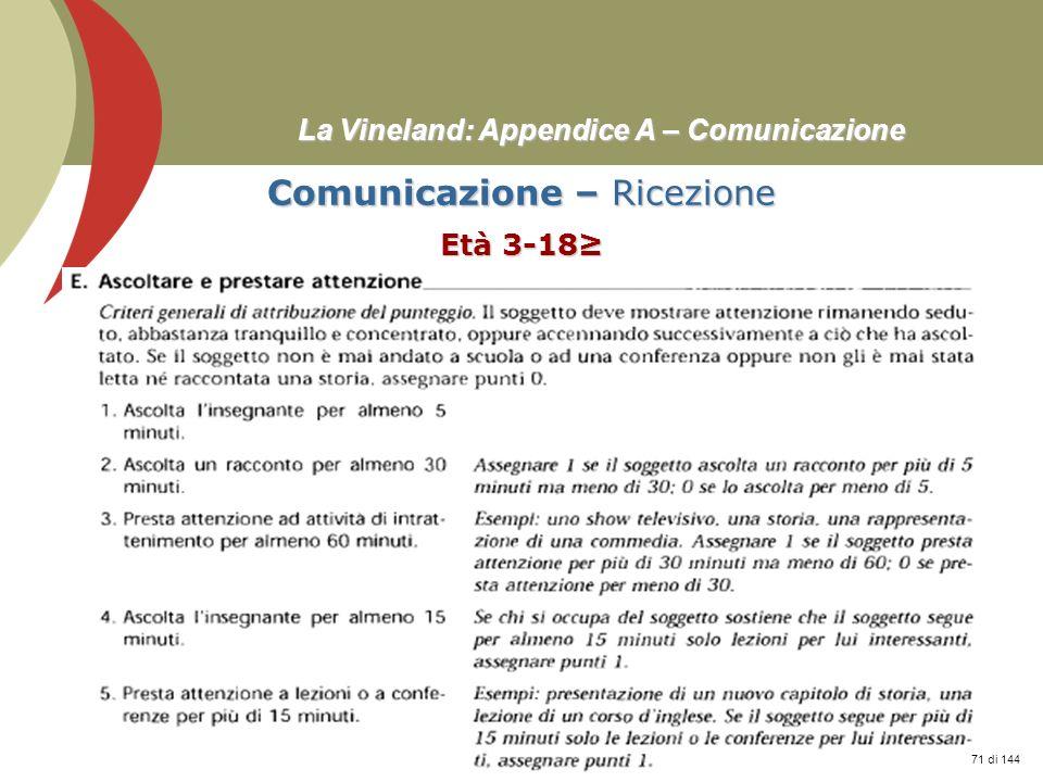 Prof. Stefano Federici La Vineland: Appendice A – Comunicazione Comunicazione – Ricezione Età 3-18 71 di 144