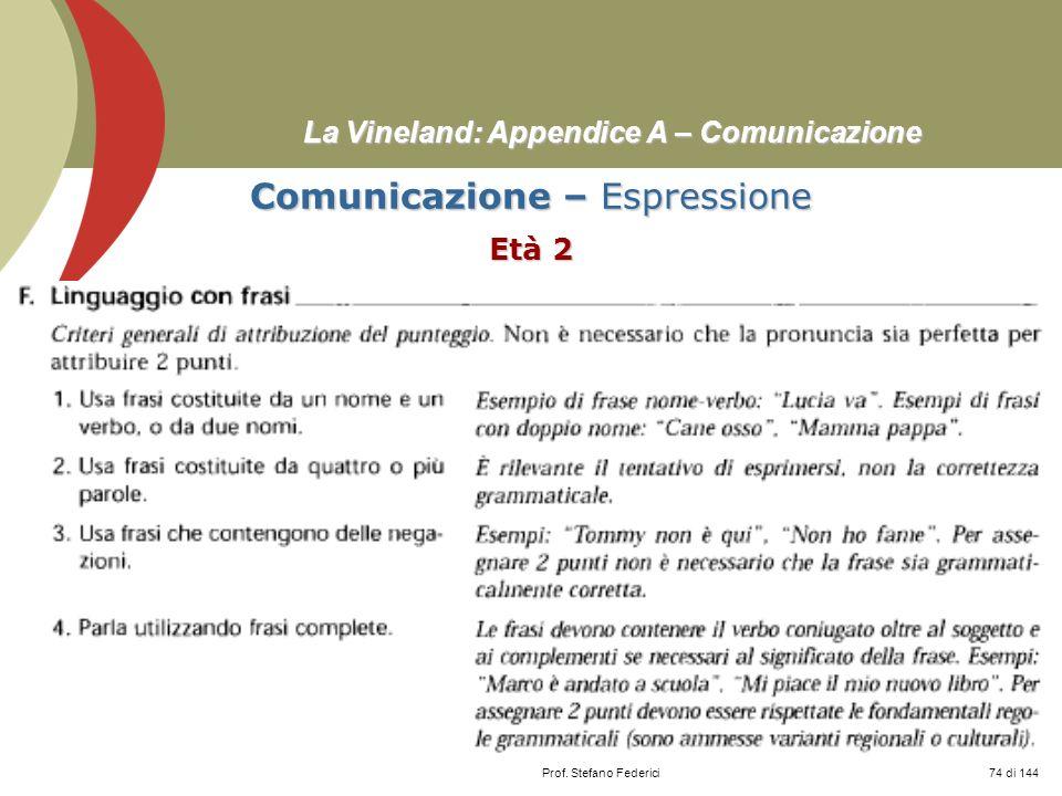 Prof. Stefano Federici La Vineland: Appendice A – Comunicazione Comunicazione – Espressione Età 2 74 di 144