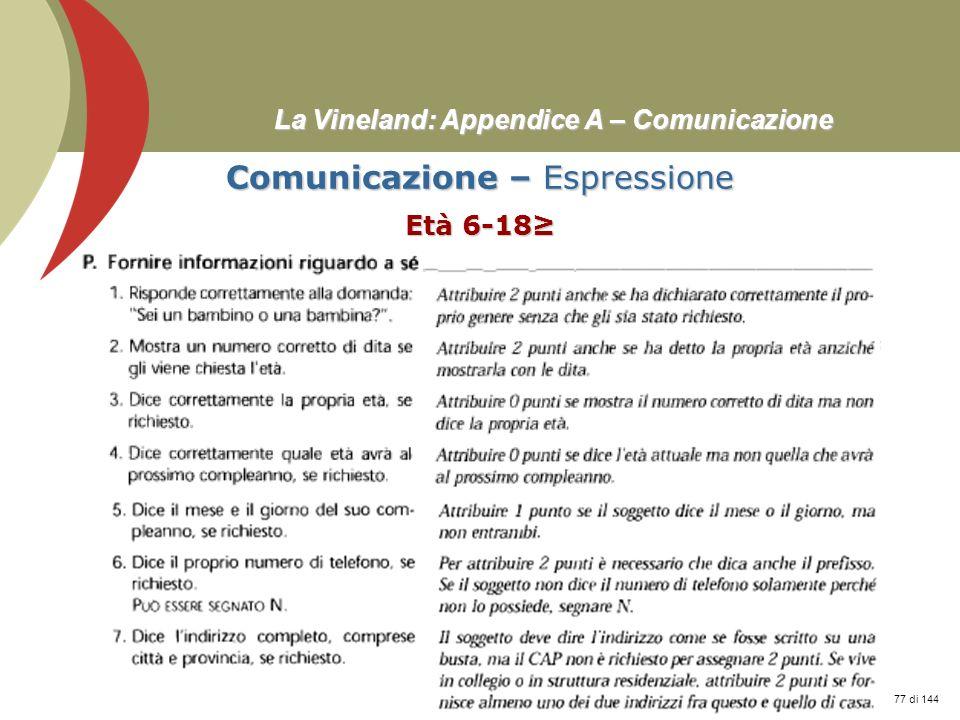 Prof. Stefano Federici La Vineland: Appendice A – Comunicazione Comunicazione – Espressione Età 6-18 77 di 144