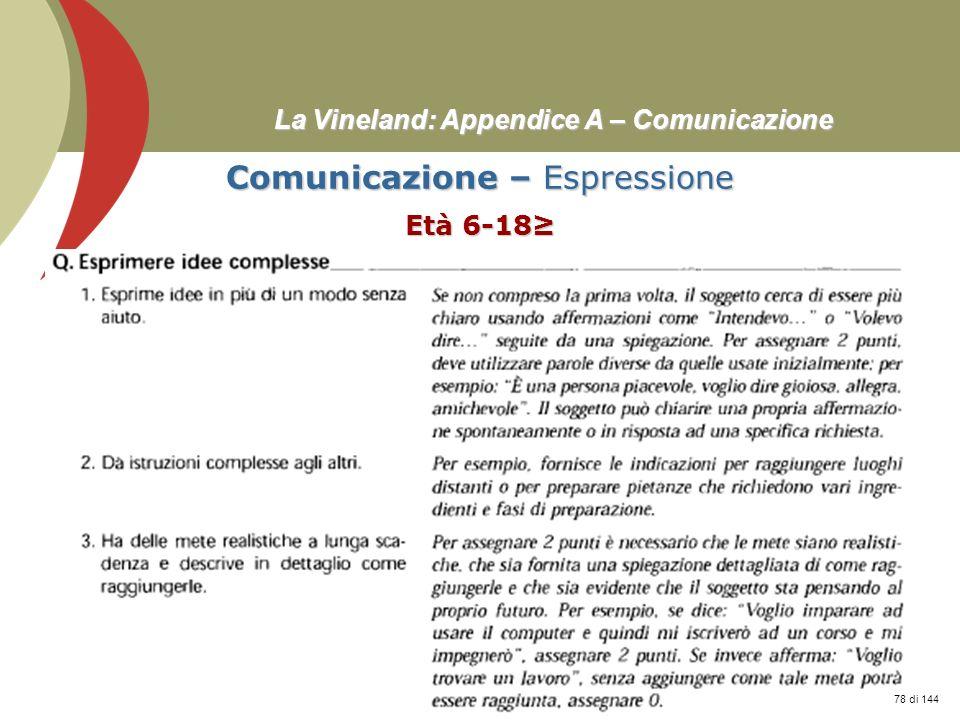 Prof. Stefano Federici La Vineland: Appendice A – Comunicazione Comunicazione – Espressione Età 6-18 78 di 144