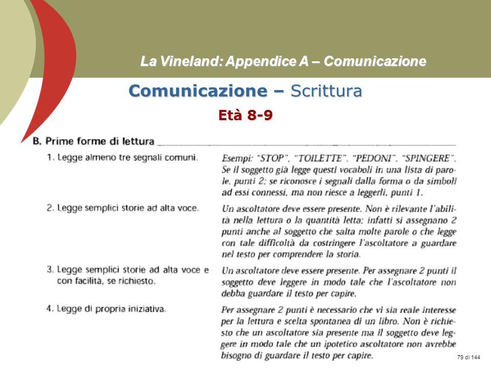 Prof. Stefano Federici La Vineland: Appendice A – Comunicazione Comunicazione – Scrittura Età 8-9 79 di 144