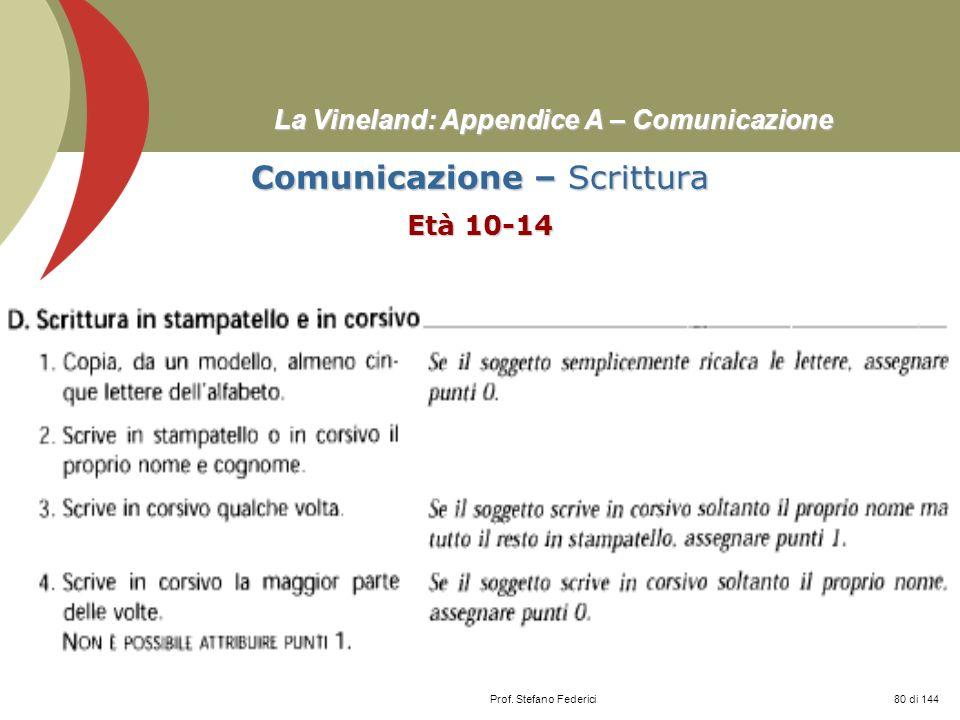 Prof. Stefano Federici La Vineland: Appendice A – Comunicazione Comunicazione – Scrittura Età 10-14 80 di 144