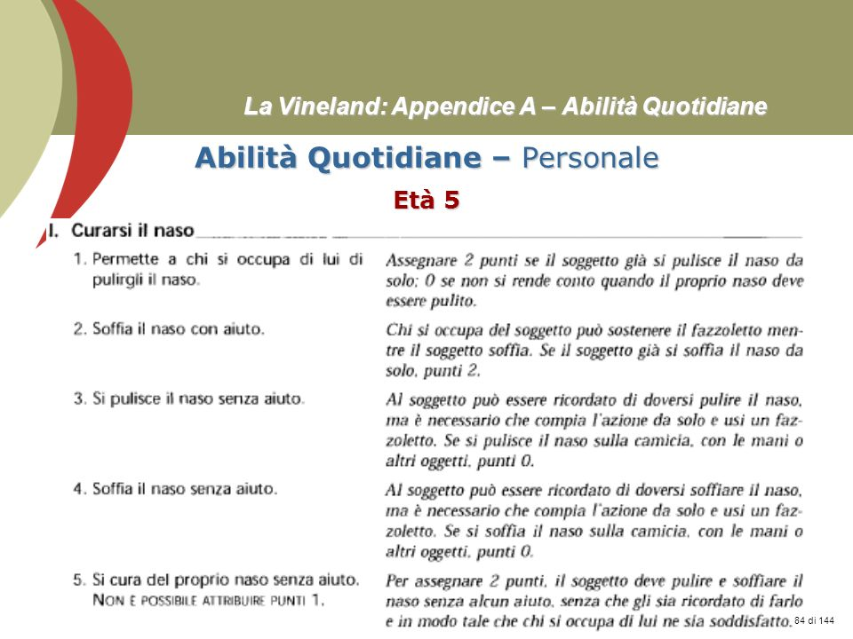 Prof. Stefano Federici La Vineland: Appendice A – Abilità Quotidiane Abilità Quotidiane – Personale Età 5 84 di 144