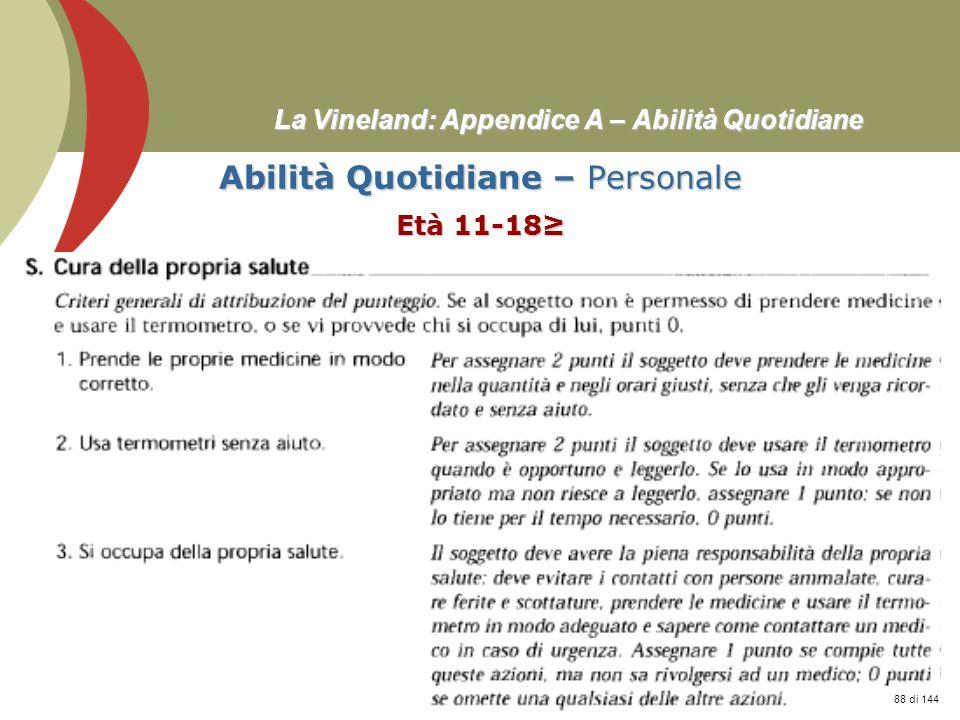 Prof. Stefano Federici La Vineland: Appendice A – Abilità Quotidiane Abilità Quotidiane – Personale Età 11-18 88 di 144