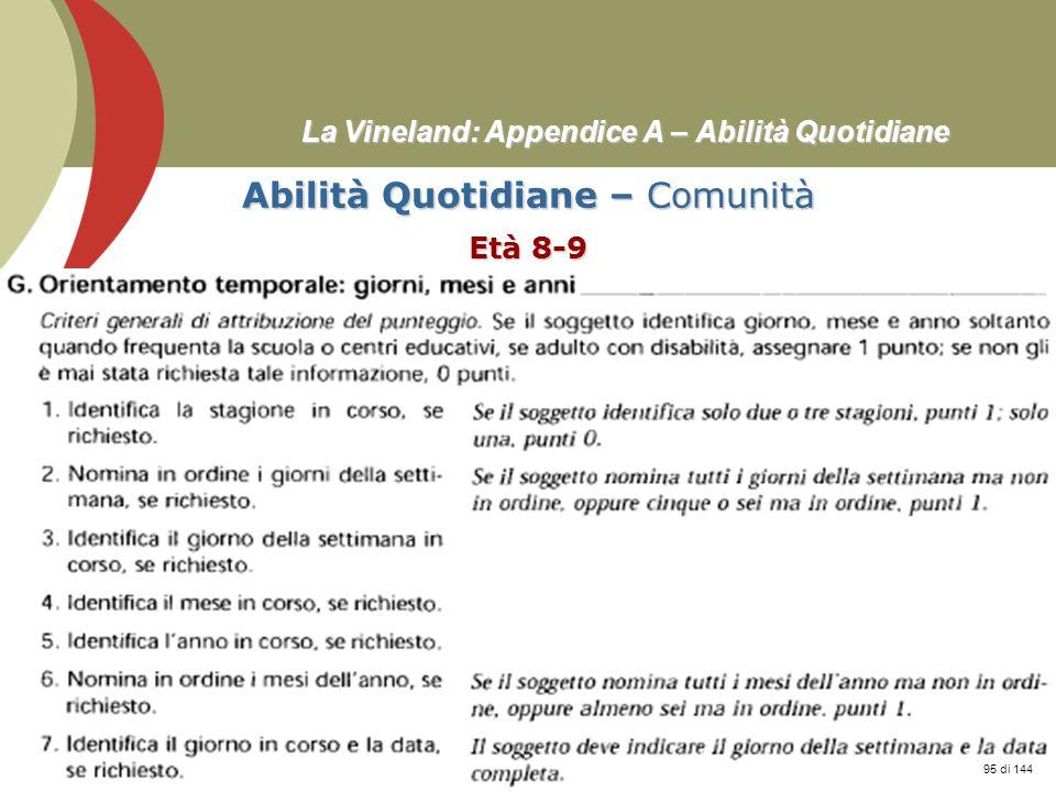 Prof. Stefano Federici La Vineland: Appendice A – Abilità Quotidiane Abilità Quotidiane – Comunità Età 8-9 95 di 144