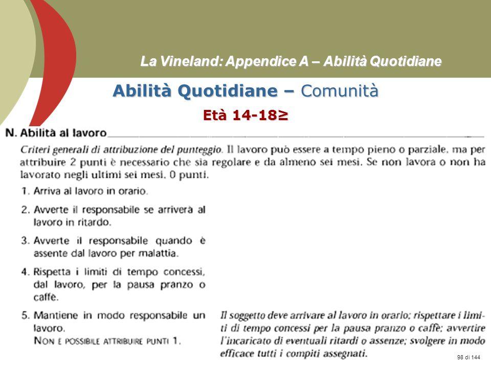 Prof. Stefano Federici La Vineland: Appendice A – Abilità Quotidiane Abilità Quotidiane – Comunità Età 14-18 98 di 144