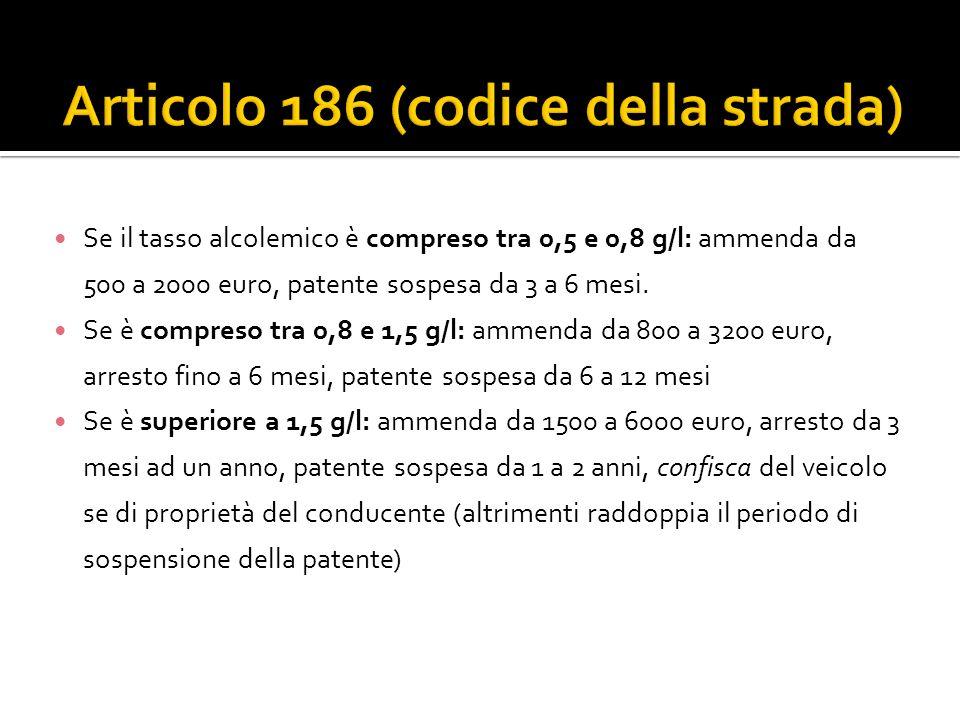 Se il tasso alcolemico è compreso tra 0,5 e 0,8 g/l: ammenda da 500 a 2000 euro, patente sospesa da 3 a 6 mesi. Se è compreso tra 0,8 e 1,5 g/l: ammen