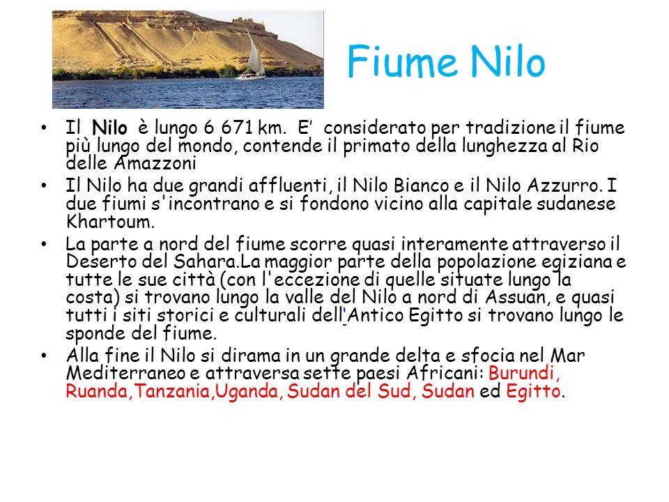 Fiume Nilo Il Nilo è lungo 6 671 km. E considerato per tradizione il fiume più lungo del mondo, contende il primato della lunghezza al Rio delle Amazz