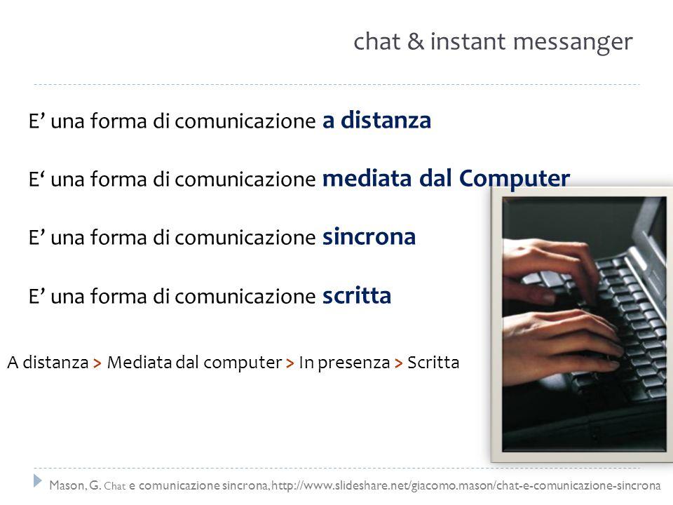 chat & instant messanger A distanza > Mediata dal computer > In presenza > Scritta E una forma di comunicazione a distanza E una forma di comunicazion