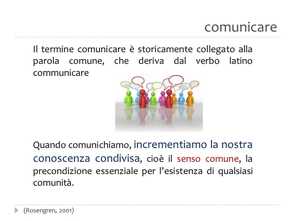 comunicare Il termine comunicare è storicamente collegato alla parola comune, che deriva dal verbo latino communicare Quando comunichiamo, incrementia