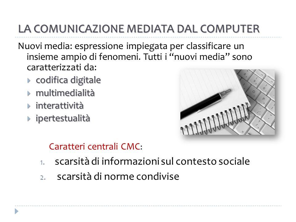 LA COMUNICAZIONE MEDIATA DAL COMPUTER La comunicazione mediata da computer (CMC) presenta insieme elementi di comunicazione: uno-a-uno, uno-a-molti, molti-a-molti revisione Essa impone pertanto una revisione delle distinzioni tradizionali tra comunicazione interpersonale e mass media