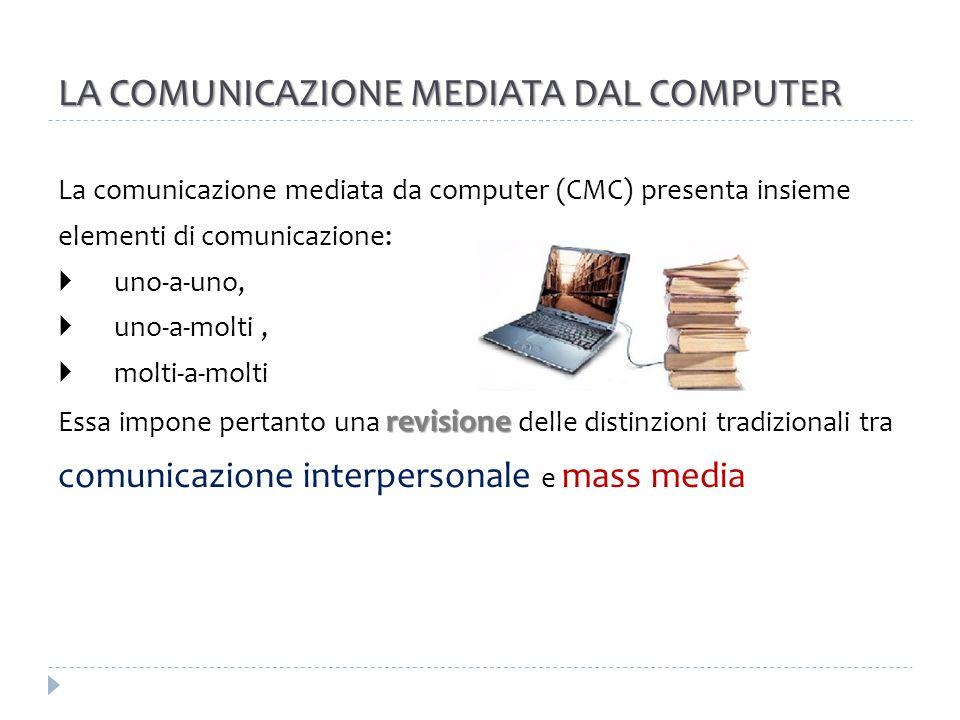 LA COMUNICAZIONE MEDIATA DAL COMPUTER La comunicazione mediata da computer (CMC) presenta insieme elementi di comunicazione: uno-a-uno, uno-a-molti, m