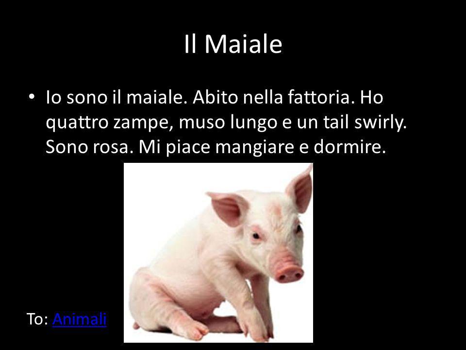 Il Maiale Io sono il maiale. Abito nella fattoria. Ho quattro zampe, muso lungo e un tail swirly. Sono rosa. Mi piace mangiare e dormire. To: AnimaliA