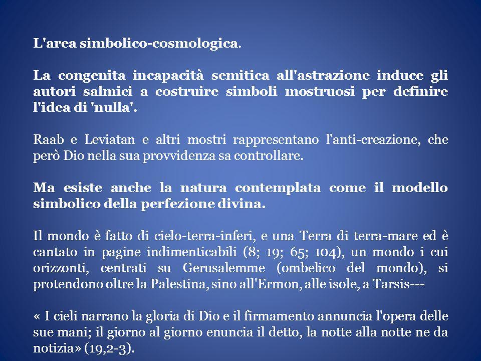 L'area simbolico-cosmologica. La congenita incapacità semitica all'astrazione induce gli autori salmici a costruire simboli mostruosi per definire l'i