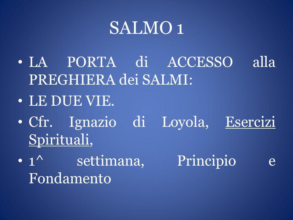 SALMO 1 LA PORTA di ACCESSO alla PREGHIERA dei SALMI: LE DUE VIE. Cfr. Ignazio di Loyola, Esercizi Spirituali, 1^ settimana, Principio e Fondamento