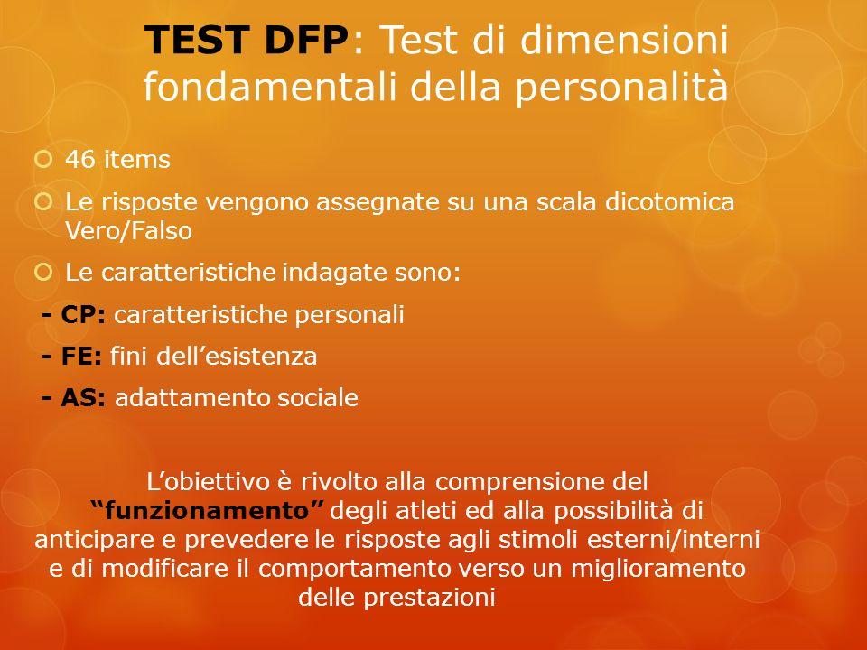 TEST DFP: Test di dimensioni fondamentali della personalità 46 items Le risposte vengono assegnate su una scala dicotomica Vero/Falso Le caratteristic