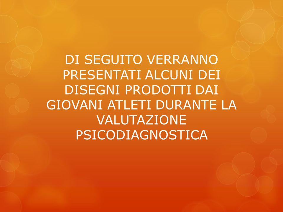 DI SEGUITO VERRANNO PRESENTATI ALCUNI DEI DISEGNI PRODOTTI DAI GIOVANI ATLETI DURANTE LA VALUTAZIONE PSICODIAGNOSTICA