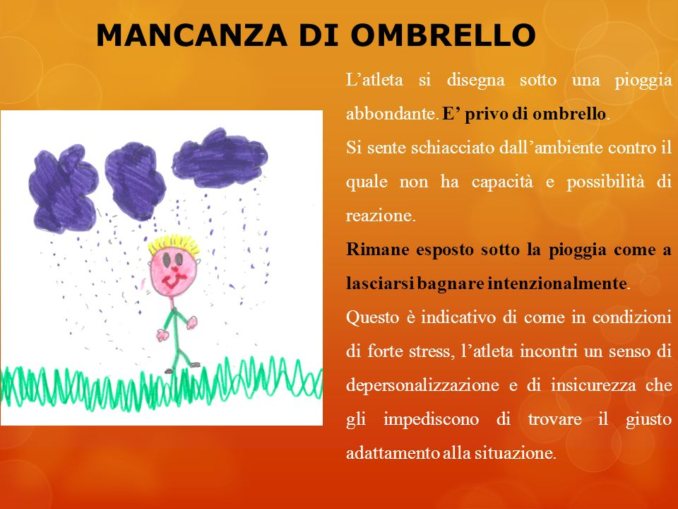 MANCANZA DI OMBRELLO Latleta si disegna sotto una pioggia abbondante. E privo di ombrello. Si sente schiacciato dallambiente contro il quale non ha ca