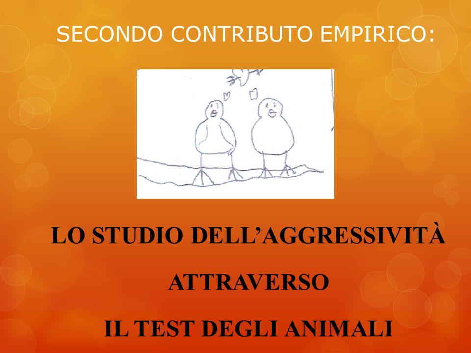 SECONDO CONTRIBUTO EMPIRICO: LO STUDIO DELLAGGRESSIVITÀ ATTRAVERSO IL TEST DEGLI ANIMALI