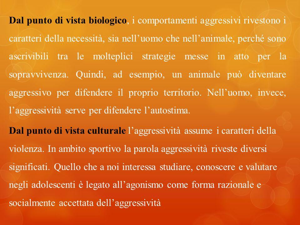 Dal punto di vista biologico, i comportamenti aggressivi rivestono i caratteri della necessità, sia nelluomo che nellanimale, perché sono ascrivibili