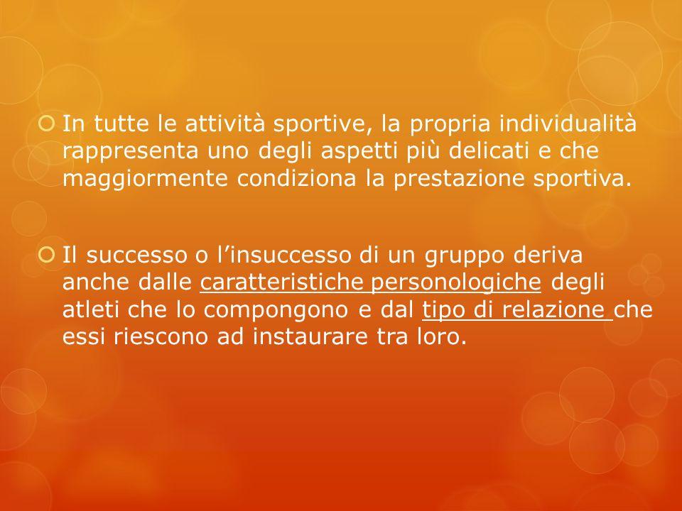 In tutte le attività sportive, la propria individualità rappresenta uno degli aspetti più delicati e che maggiormente condiziona la prestazione sporti